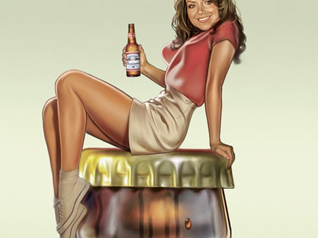 Beer Bottle Pin-up
