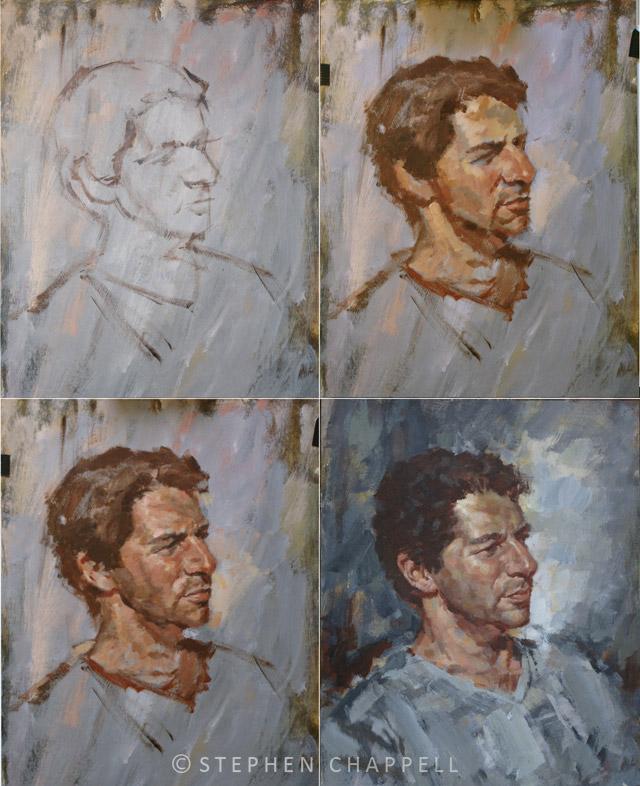nik acrylic portrait 42cm x 50cm steve chappell artist